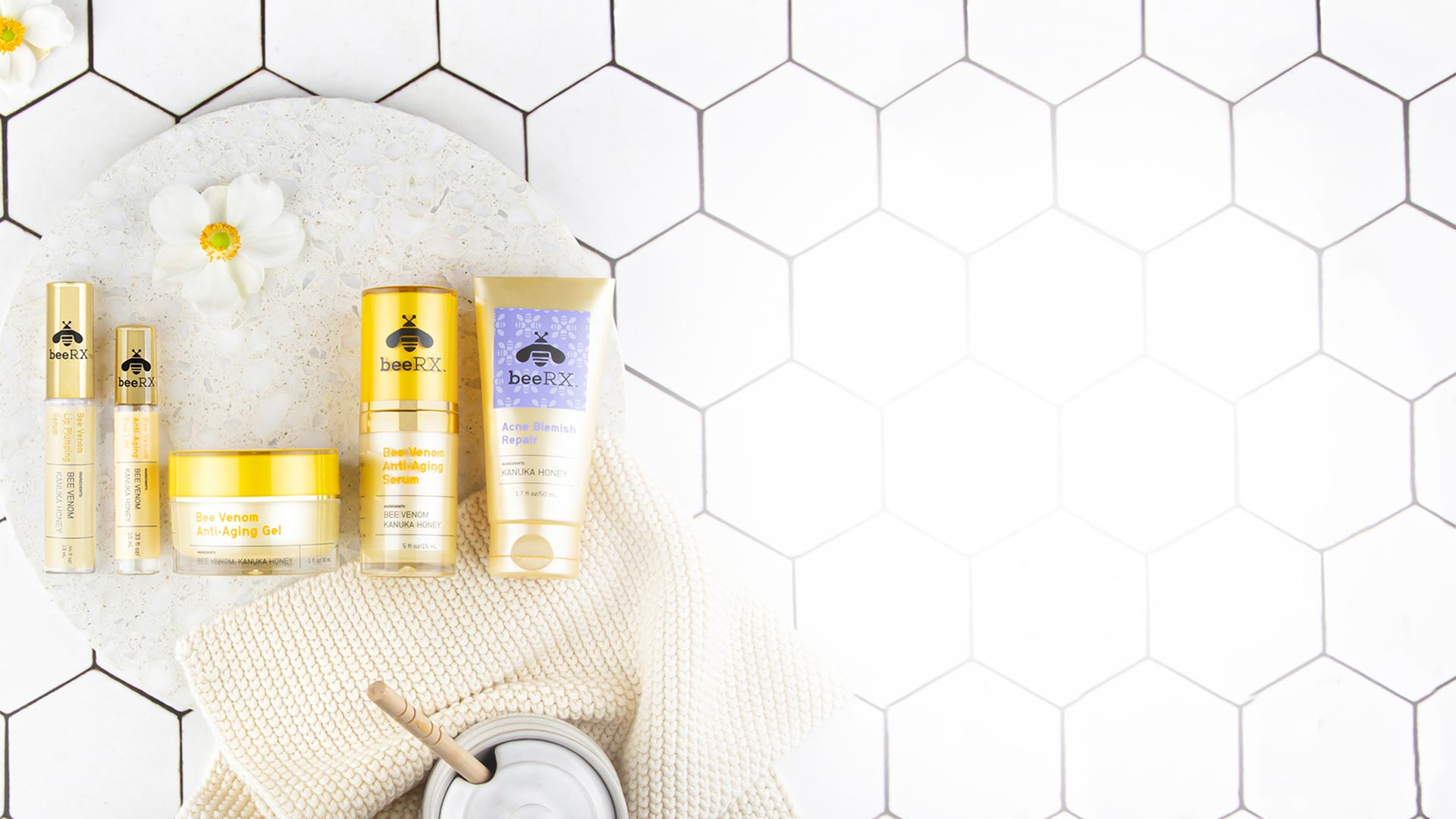 Bee RX products displayed in a shower